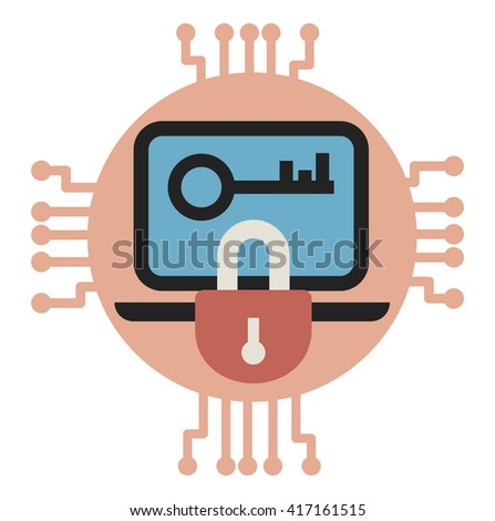Data encryption and protection. Vector illustrarion - stock vector