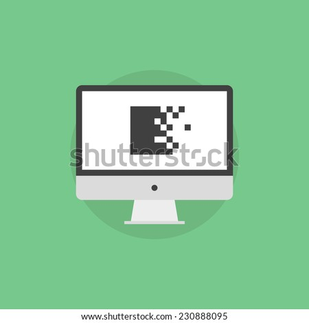 Data encryption archiving with defense mechanism on a monitor display, archive cryptography protection service, virtualization technology. Flat icon modern design style vector illustration concept. - stock vector