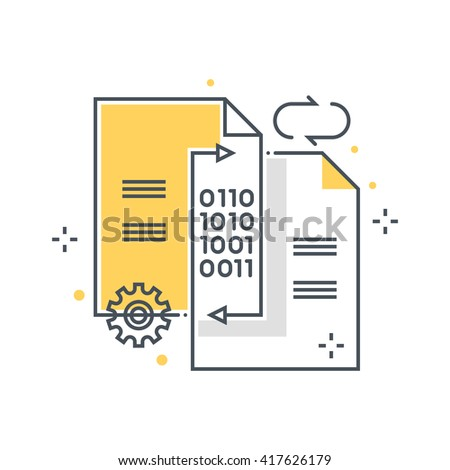 Data exchange, transfer concept illustration, icon, background and graphics. The illustration is colorful, flat, vector, pixel perfect, suitable for web and print. It is linear stokes and fills. - stock vector