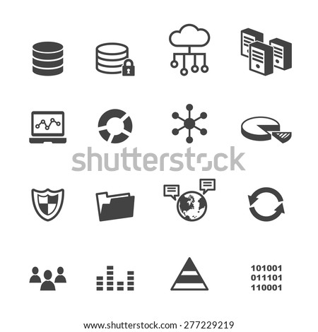 data icons, mono vector symbols - stock vector