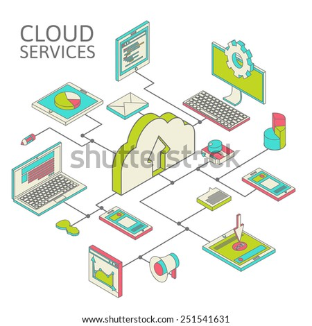 Data infographic isometric set and network elements vector illustration - stock vector