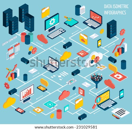 Data infographic isometric set with data center and network elements vector illustration - stock vector