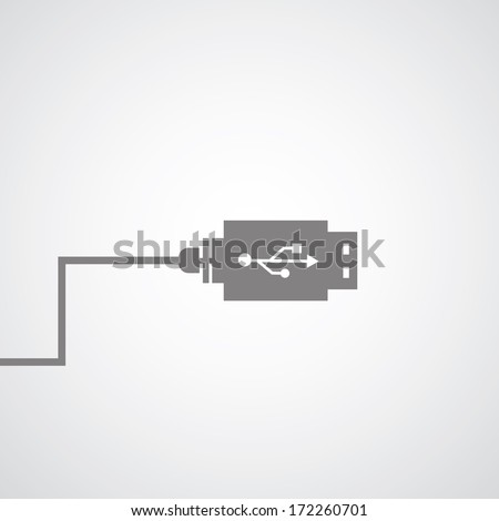 data link connector symbol on gray background - stock vector