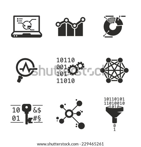 Data mining and Analytic | Grayscale icons set - stock vector