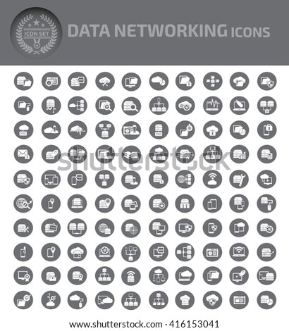 Data networking icons,vector