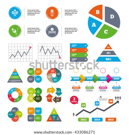 Data pie chart and graphs. Tennis rackets with ball. Basketball basket. Volleyball net with ball. Golf fireball sign. Sport icons. Presentations diagrams. Vector - stock vector
