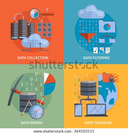 Data processing 2x2 flat design concept set of collection filtering mining  transfer data vector illustration  - stock vector