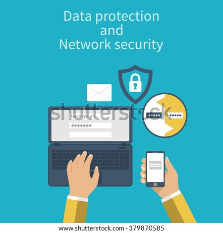 Data protection and Network security. Concepts web protection. Flat design. Laptop and smartphone connection for security reasons. Vector illustration. Authentication.