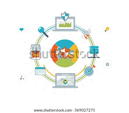 Data protection and safe work. Data safety. Internet security. Investment security. Information security.  Virus protection concept.  Mobile marketing and security online shopping. Color line icons - stock vector