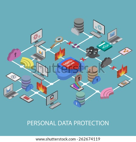 Data protection and safe work. Flat design isometric EPS10.  - stock vector