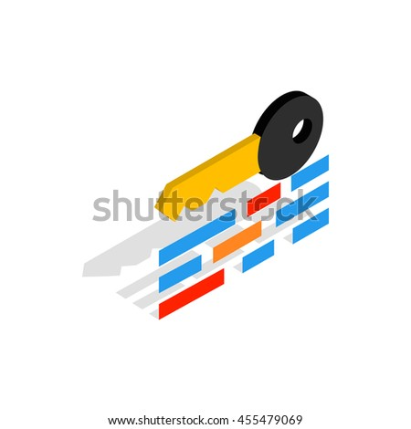 Data protection icon in isometric 3d style on a white background - stock vector