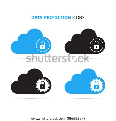 Data protection icons. Cloud computing and protecting data concept. Secure cloud technology. Lock and unlock. Vector Illustration. - stock vector