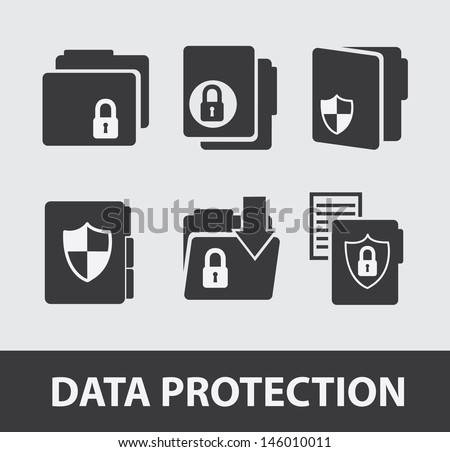 data protection icons over gray background vector illustration  - stock vector