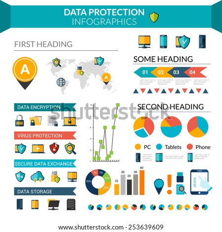 Data protection infographics set with safe information storage symbols and chart vector illustration - stock vector