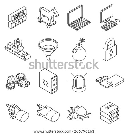 Data protection technology and web business security icons. Bug and cluster, filter trojan, login. Isometric 3d thin line style. Vector illustration - stock vector