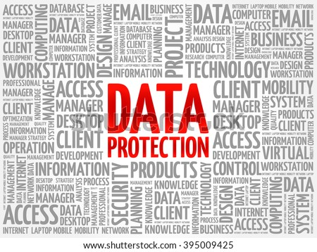 Data protection word cloud concept - stock vector
