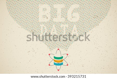 Data science and communication concept with flow of information and BIG DATA wording. - stock vector