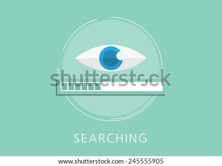 data searching concept flat icon - stock vector