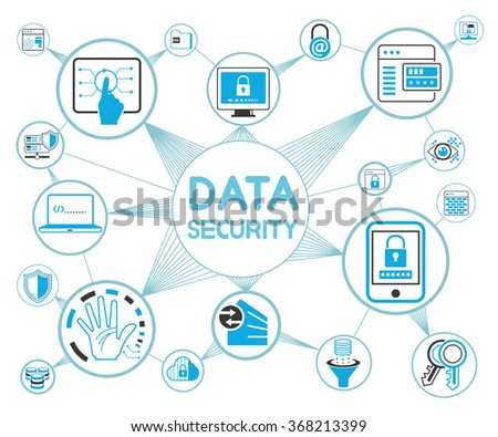 data security concept, data security icons, data protection - stock vector
