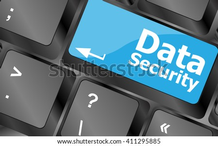 data security word with icon on keyboard button. Keyboard keys icon button vector - stock vector