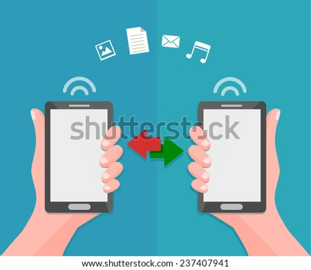 data sharing and transfer concept between mobile phones