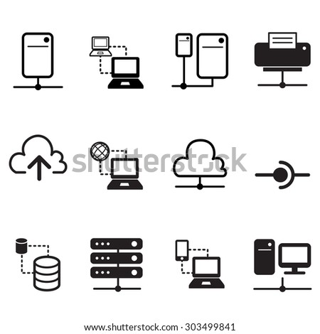 Data sharing, hosting, Server, Cloud  Network System icons set - stock vector