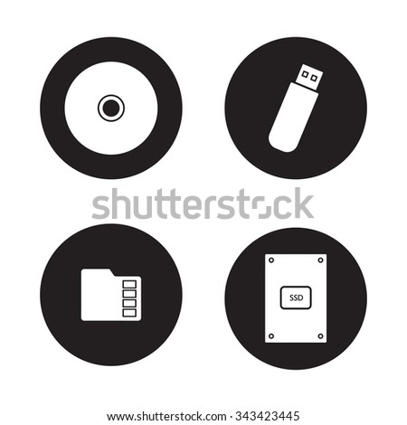 Data storage devices black icons set. External ssd hard drive, portable usb stick, micro sd mobile memory card, compact disc. Digital gadgets. White silhouettes illustrations. Vector logo concepts - stock vector