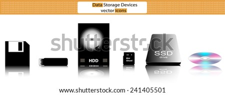 Data storage devices (cd, usb memory stick, floppy disk, ssd, sd-card, hd) vector icons - stock vector