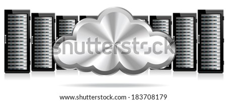 Data Storage System in the Cloud - Servers - stock vector