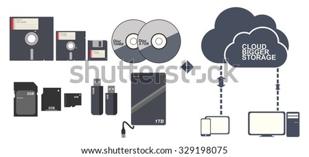 Data Storage to cloud technology vector - stock vector