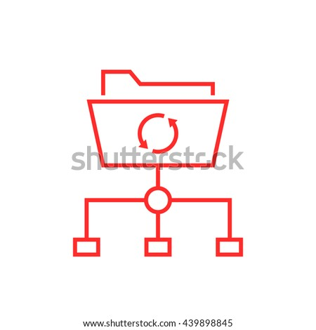 data synchronization with thin line folder. concept of software update, router, teamwork tool management, copy process, info. flat style logo design vector illustration isolated on white background - stock vector