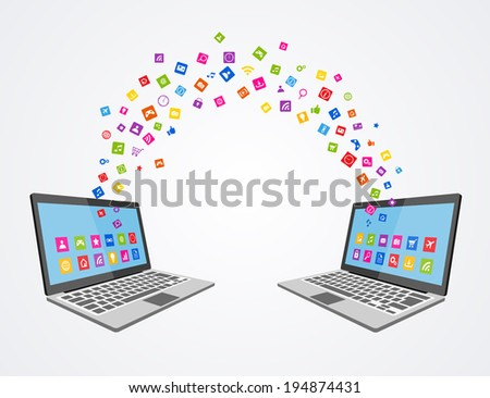 Data syncronizing concept flat illustration,eps 10 - stock vector