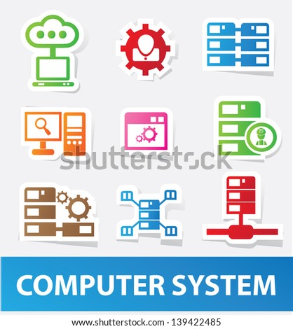 Data system icons,vector - stock vector