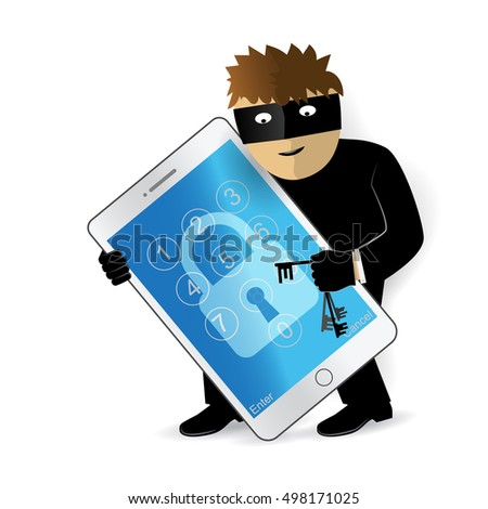 Data theft. Hacker breaks into smartphone. Cyber attacker trying to hack smart phone. Vector concept abstract illustration.