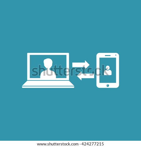 Data Transfer or Data Synchronization Icon. Eps-10. - stock vector