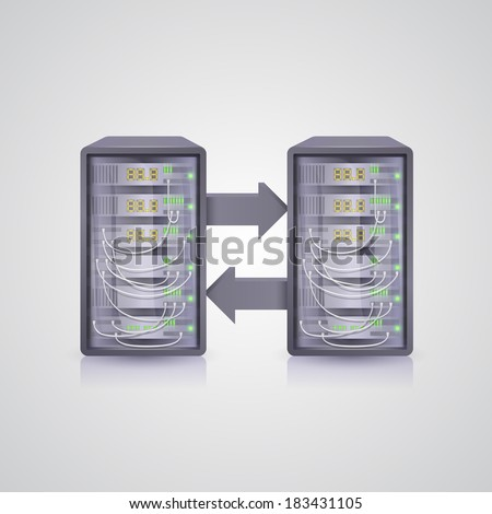 Data transmission through the server - stock vector