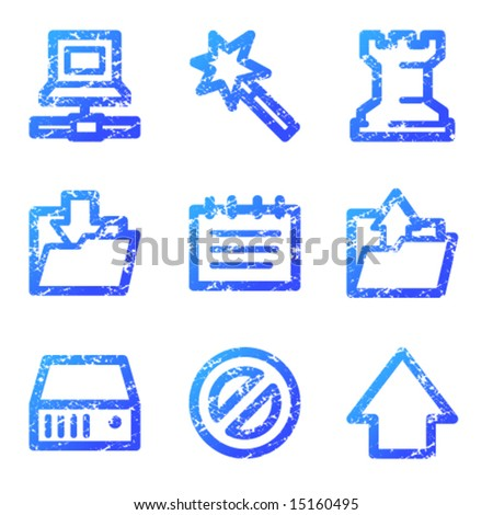 Data web icons, blue grunge series