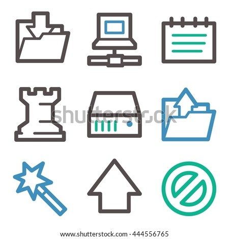 Data web icons, folder and disk, upload and download, vector stock signs - stock vector