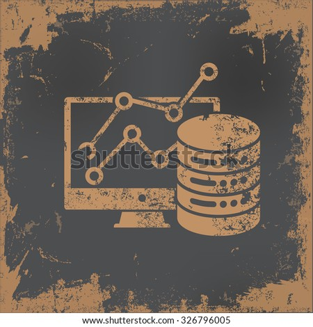 Database,analysis design on old paper background, vector - stock vector