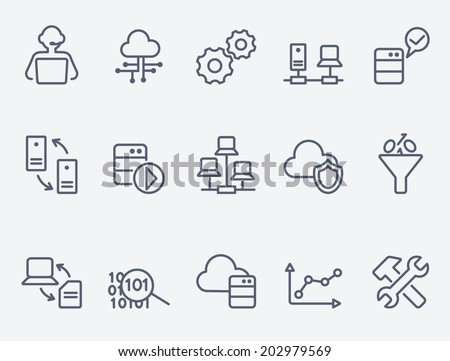 Database analytics icons - stock vector