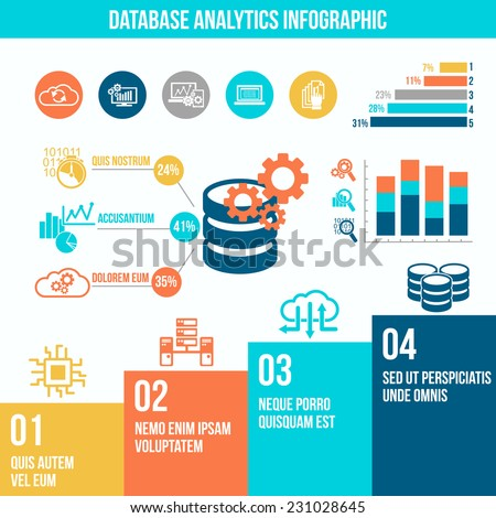Database analytics information technology flat infographic set with charts vector illustration. - stock vector