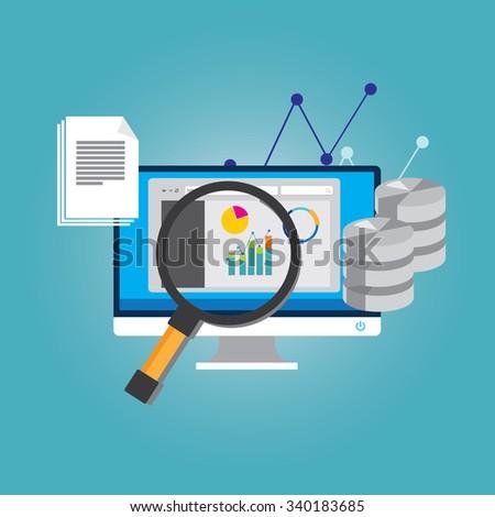 database analyze big data - stock vector