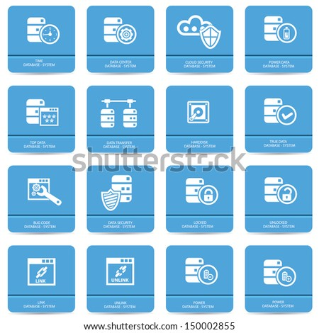 Database and computer system icons,vector - stock vector