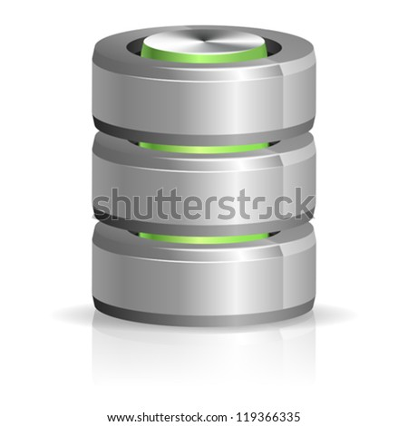 Database and Hard Disk Icon, isolated on white, vector illustration