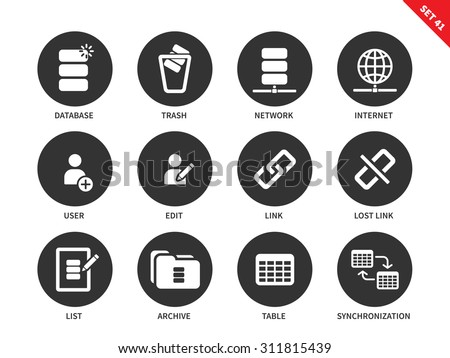 Database and social network vector icons set. Web and internet concept. Items for office computers interface, edit, user, database, trash, link, list, archive and table. Isolated on white background - stock vector