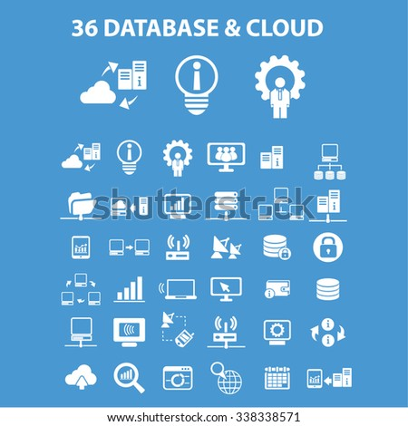 database, cloud, hosting, analytics  icons, signs vector concept set for infographics, mobile, website, application  - stock vector