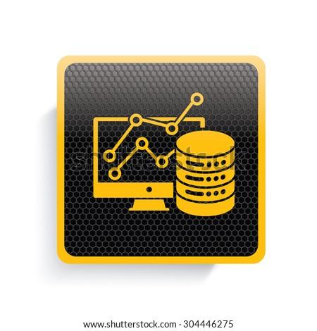 Database icon design,yellow version,clean vector - stock vector