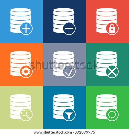 Database icon, Line icons set of database and technology. Database vector icon. Modern color flat design linear pictograph collection. Outline vector concept of stroke symbol pack. Premium graphics  - stock vector