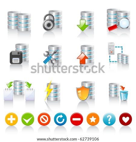 Database icons - stock vector