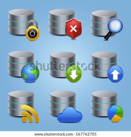 database icons set vector - stock vector